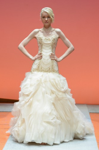 NEW YORK, NY - OCTOBER 07:  A model walks the runway during 2016 Alfred Angelo Disney Fairy Tale Weddings Bridal Collection fashion show debut on October 7, 2015 in New York City.  (Photo by Slaven Vlasic/Getty Images for Alfred Angelo)