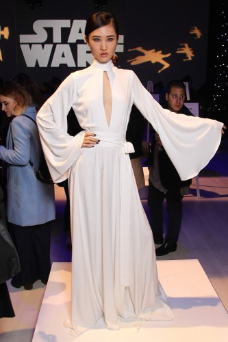 TORONTO, ON - OCTOBER 21:  A model poses at the Star Wars Spring/Summer 2016 fashion show during World Mastercard fashion week on October 21, 2015 in Toronto, Canada.  (Photo by Edward James/FilmMagic)
