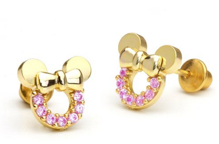 disney 14k yellow gold minnie disney discovery 14k gold minnie mouse studs