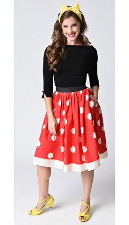 Unique_Vintage_1950s_Red_Ivory_Polka_Dot_High_Waist_Circle_Swing_Skirt