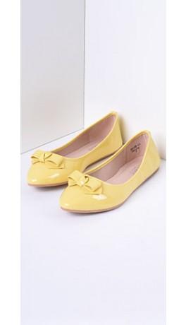 Yellow_Patent_Leatherette_Bow_Flat_5