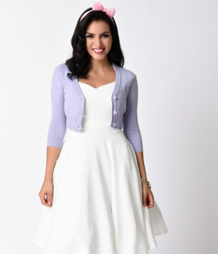 Lilac_Purple_Three-Quarter_Sleeve_Button_Up_Crop_Cardigan