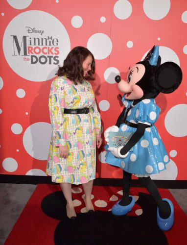 WEST HOLLYWOOD, CA - JANUARY 17: Global style icon Minnie Mouse poses with designer of her new dress, Olympia Le-Tan at the Andaz Hotel in West Hollywood. The dress was inspired by an upcoming collaboration with UNIQLO that will launch in Spring ?17. (Photo by Lester Cohen/Getty Images for Disney Consumer Products and Interactive Media)